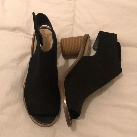 Brand New Clarks Black Peep Toe Booties